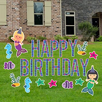 VictoryStore Yard Sign Outdoor Lawn Decorations Birthday Cards Mermaid Decoration With Faux