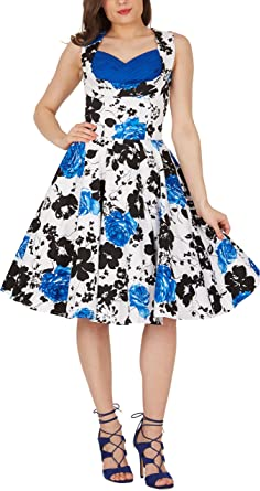 BlackButterfly Aura Serenity Vintage Rockabilly Floral 1950s Dress (White ...