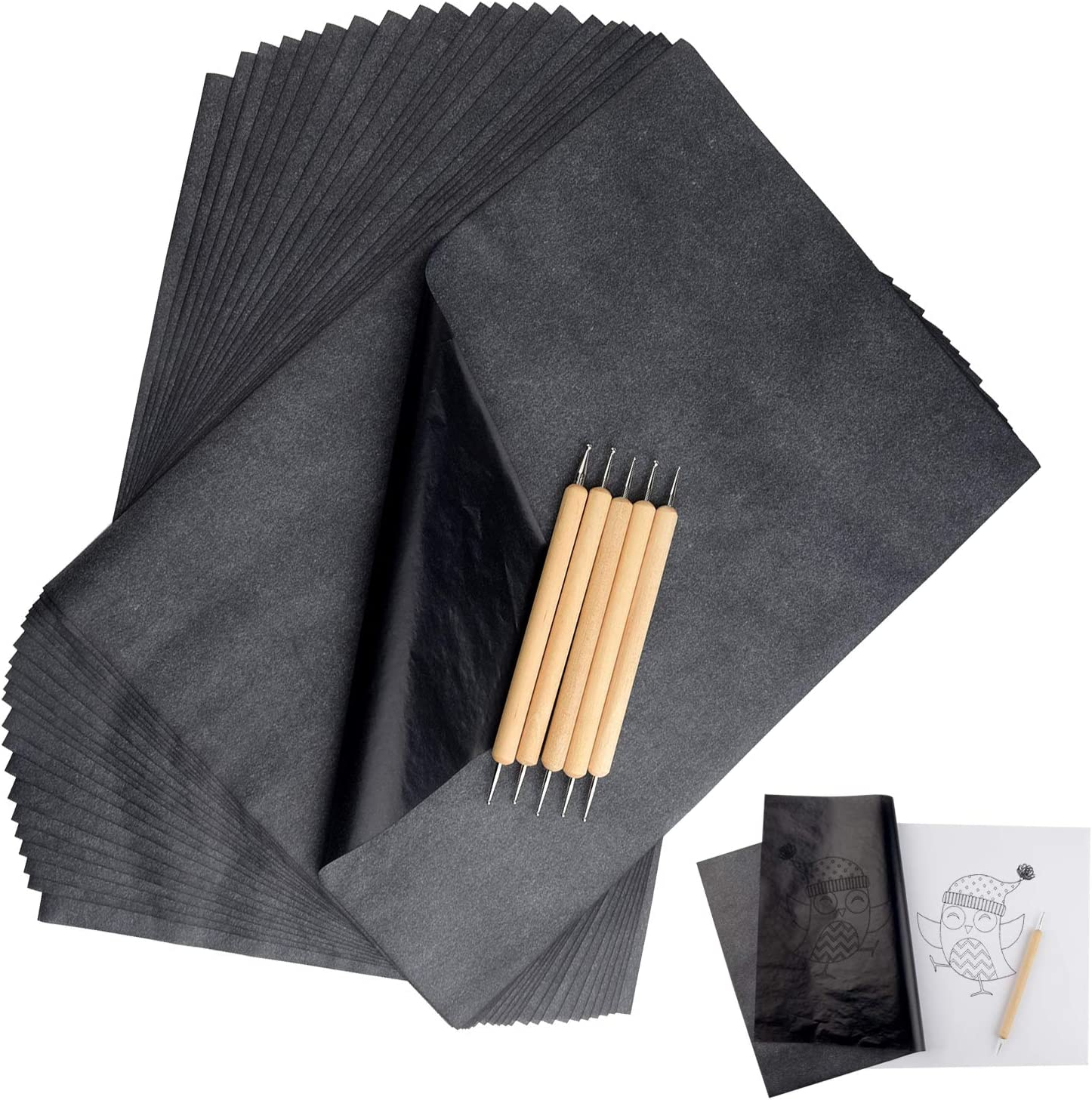 Nisorpa Carbon Transfer Paper 100pcs Carbon Graphite Papers Black Coping Drawing Tracing Paper Sheets 2333CM//913INCH for Wood Paper Canvas Fabric DIY Craft Art