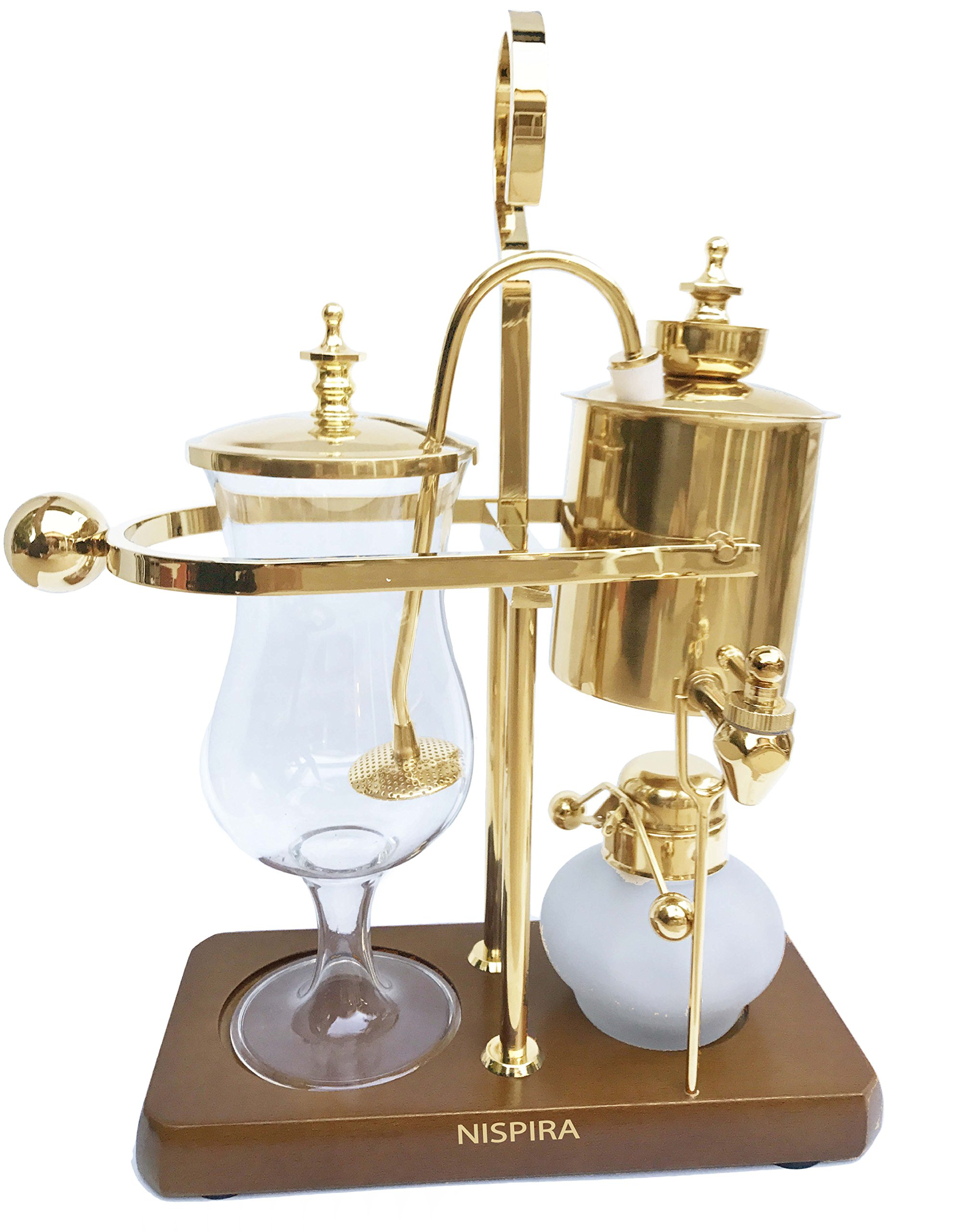 NISPIRA Belgian Belgium Luxury Royal Family Balance Syphon Siphon Coffee Maker Gold Color, 1 set