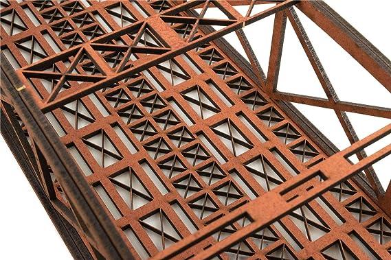 WWS Zweispurige Rote Stabbogenbrücke 400mm Spur 00//H0 MDF Modellbahn Modellbau