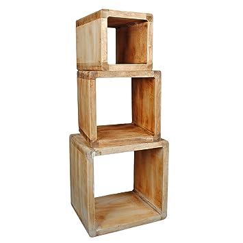 Ts Ideen 3er Set Lounge Regal Design Cube Nachttisch Shabby