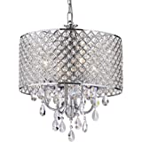 EDVIVI Marya Drum Crystal Chandelier Ceiling Fixture| 4 lights Glam Lighting Fixture with Chrome Finish| Adjustable Ceiling L