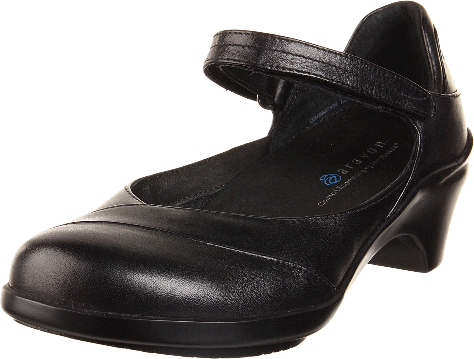 Aravon Womens Maya Pump,Black Leather,7 WW (EE) US