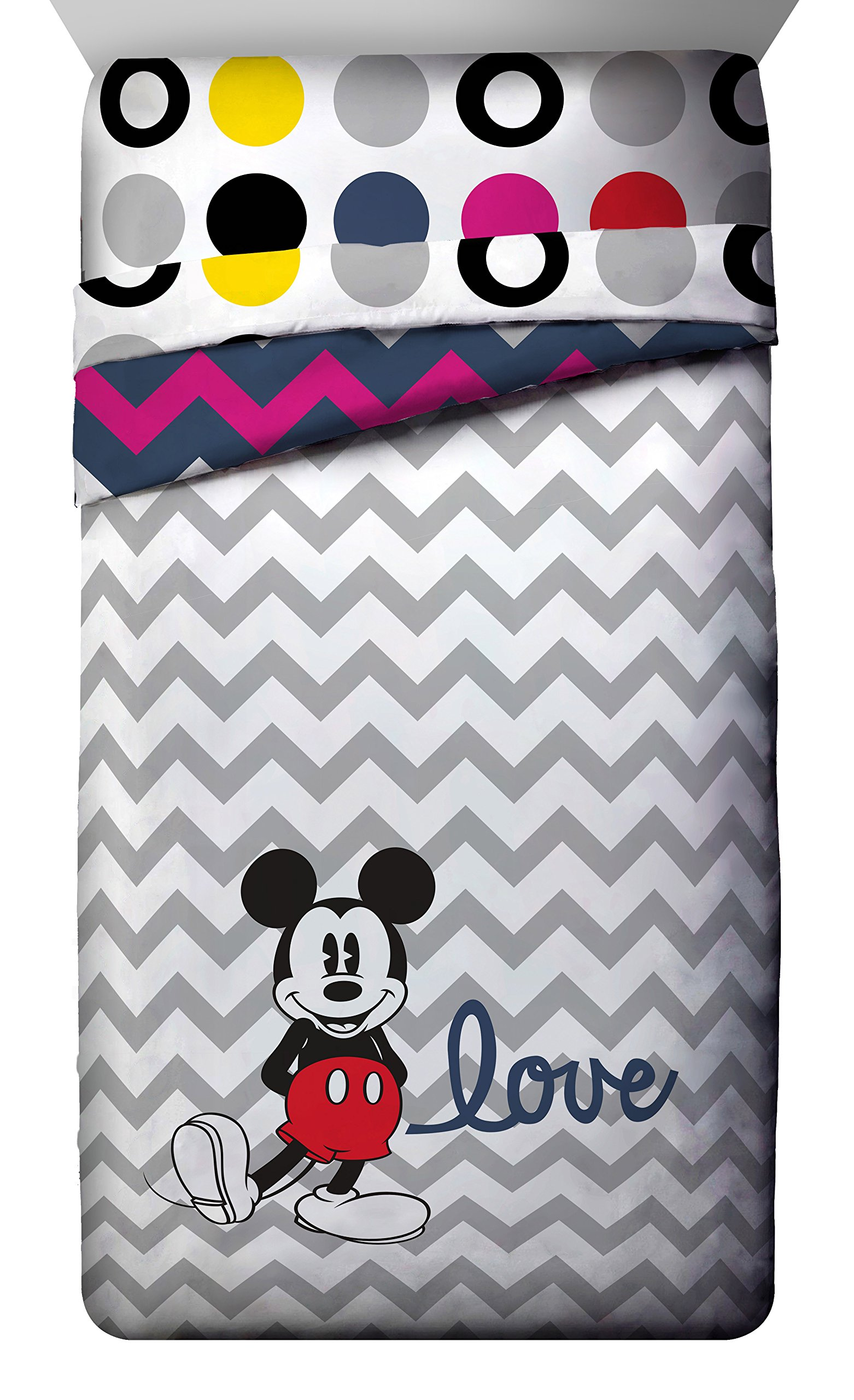 Disney Mickey Mouse Chevron Twin/Full Comforter - Super Soft Kids Reversible Bedding features Mickey Mouse - Fade Resistant Polyester Microfiber Fill (Official Product)