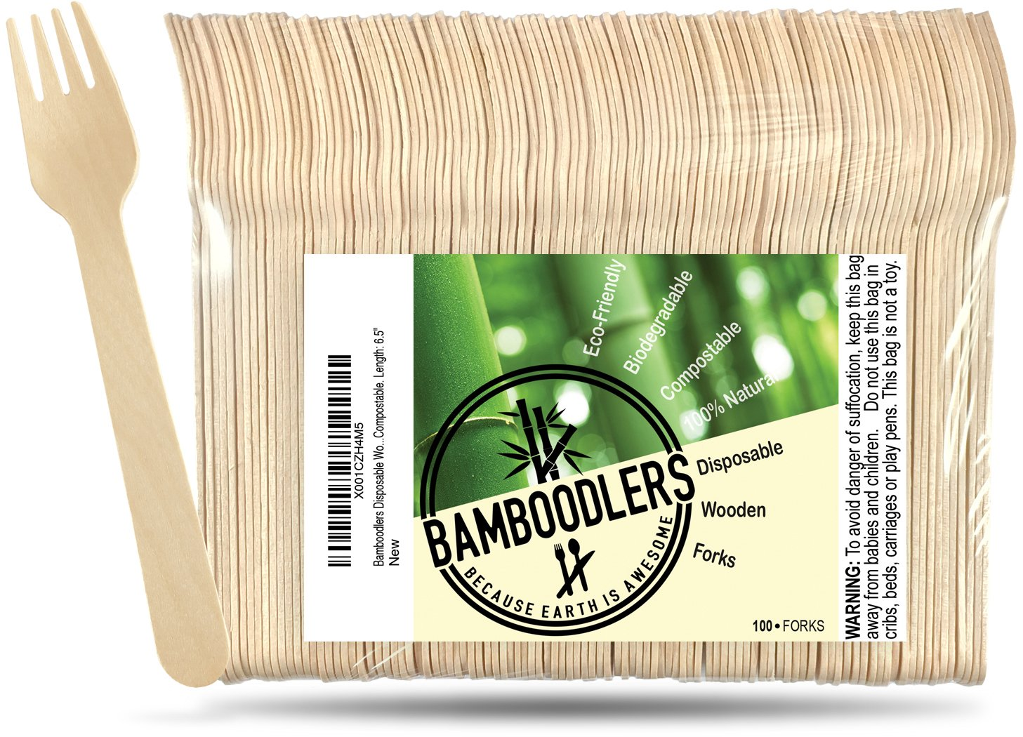 Disposable Wooden Forks by Bamboodlers | 100% All-Natural, Eco-Friendly, Biodegradable, and Compostable - Because Earth is Awesome! Pack of 100- 6.5'' forks.