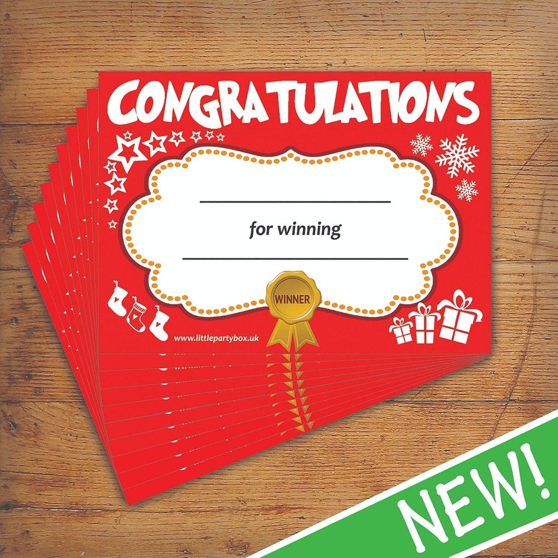10 Pack Christmas Certificate , Winner Party Game Kids School Quiz