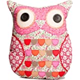 Sass & Belle Applique Owl Cushion - Sylvia Pink & Green (With Inner)