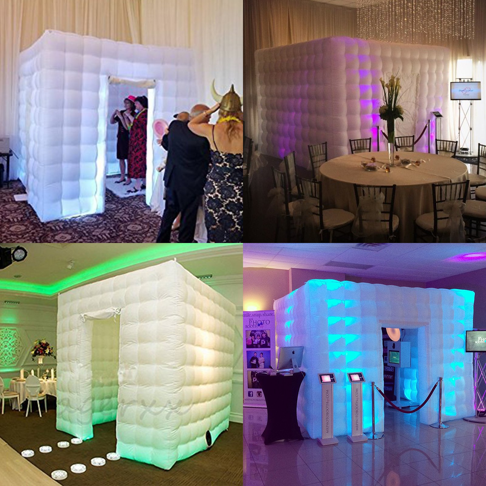 Happybuy Inflatable Portable Photo Booth Enclosure with LED Changing Lights Inner Air Blower and Controller for Wedding Party Promotions Advertising Photo Booth Tent Cube (Two Door) by Happybuy (Image #5)