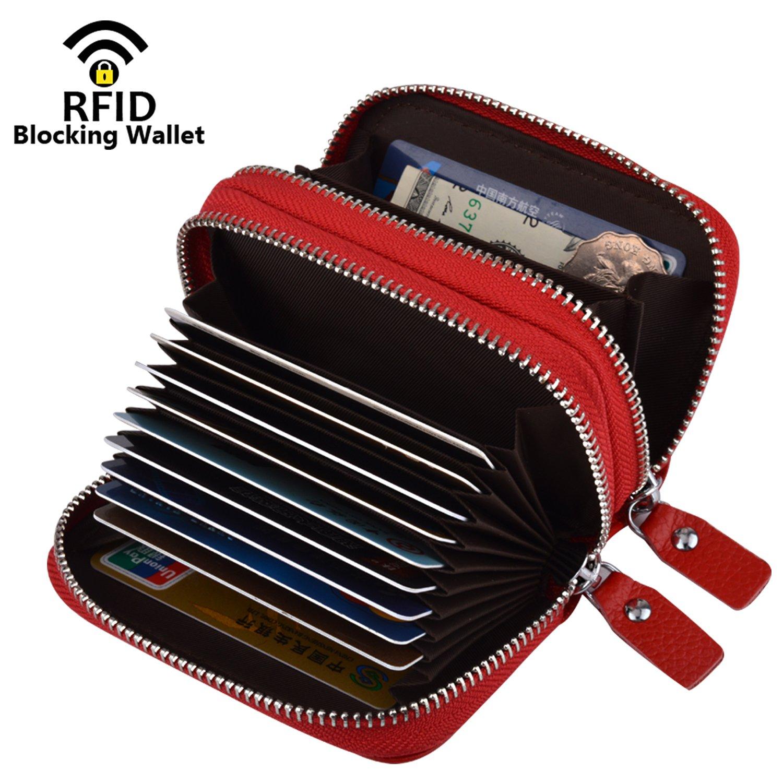 MaxGear RFIDブロックウォレット クレジットカードホルダー クレジットカード財布 本革ウォレット B0756VMD5K Red-genuine Leather Red-genuine Leather