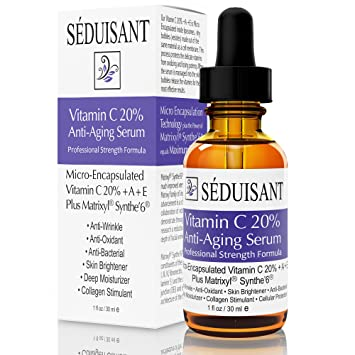 Amazon.com: Séduisant Vitamin C 20% Anti Aging Serum with Matrixyl, Synthe Peptides and Micro-Encapsulated Vitamin C,A,E: Beauty