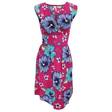 f756ff537822 Womens Ladies Hawaiian Print Sleeveless Crossover Summer Dress (Large)  (Pink)