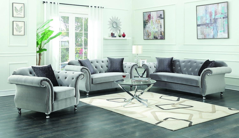 Amazon Com Coaster Frostine 3 Piece Living Room Set Silver Grey