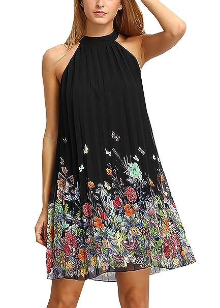 Mujeres sin mangas halter Gasa vestidos cortos casual floral corte vestido Vestido de Cóctel Elegante Halter