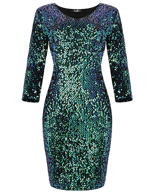 Yomoko Women's Long Sleeve V-Neck Sequins Sparkle Party Club Bodycon Dress