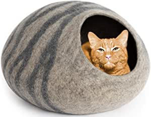 MEOWFIA Premium Cat Bed Cave (Large) - Eco Friendly 100% Merino Wool Beds for Cats and Kittens
