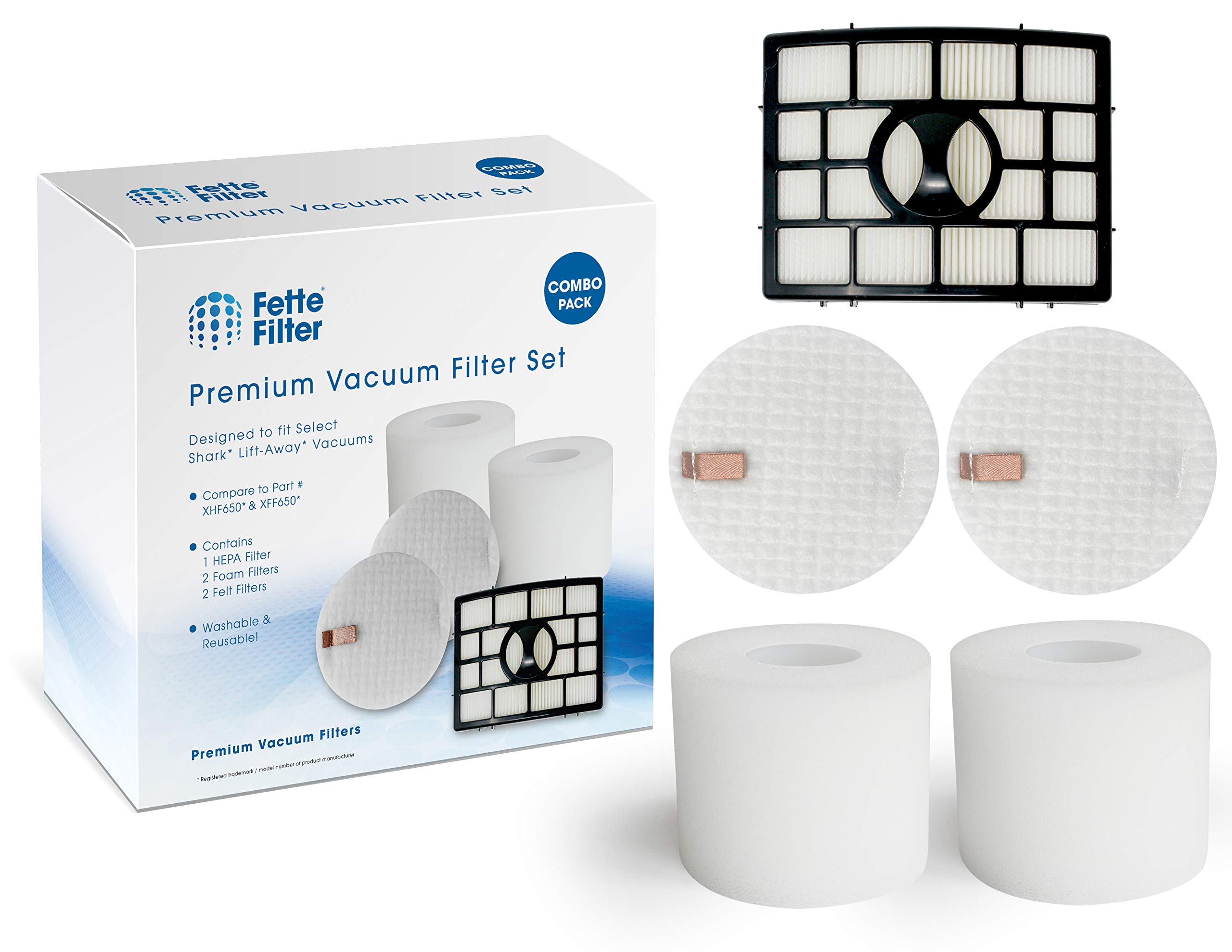 Fette Filter - Vacuum Filter Set Compatible with Shark Rotator Powered Lift-Away NV650. Compare to # XFF650 & XHF650. (Combo Pack)
