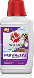 Hoover Paws & Claws Multi Surface Floor Cleaner, Concentrated Pet Cleaning Solution for FloorMate Machines, 32oz Formula, AH30429, White
