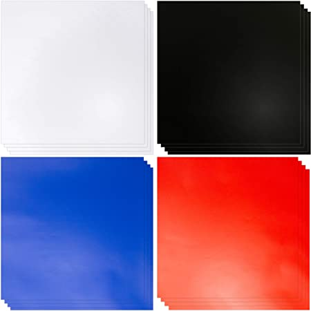 Amazon Com Vinyl Sheets With Adhesive 20 12 X12 Sheets Matte Blue Red Black White Permanent Self Adhesive Vinyl Sheets Like Oracle 651 Vinyl Rolls Permanent Vinyl For Cricut Silhouette Or Outdoor Vinyl