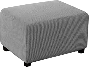 Stretch Ottoman Cover Ottoman Slipcover Sofa Cover Footstool Protector Storage Ottoman Covers Furniture Protector Soft Rectangle slipcover with Elastic Bottom (Large, Dove)