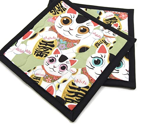 Green// Gold// Black Deluxe Hot Pad// Pot Holder CATS WITH LONG TAILS Quilted
