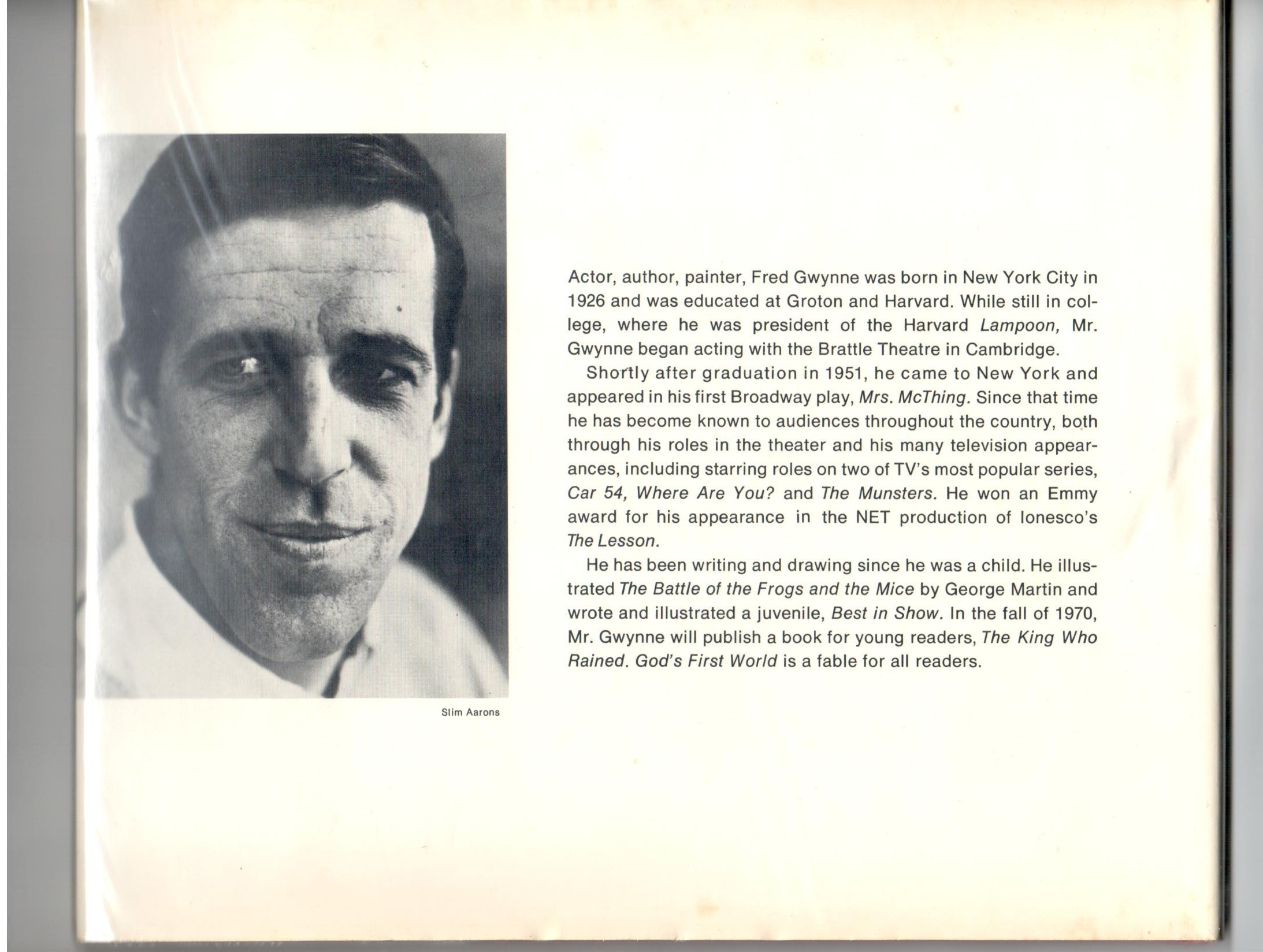 Gods first world fred gwynne amazon books fandeluxe Image collections
