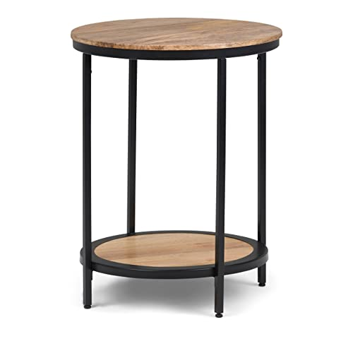 Simpli Home AXCMTBL-13 Jenna Contemporary 18 inch Wide Metal Round Accent Side Table in Natural
