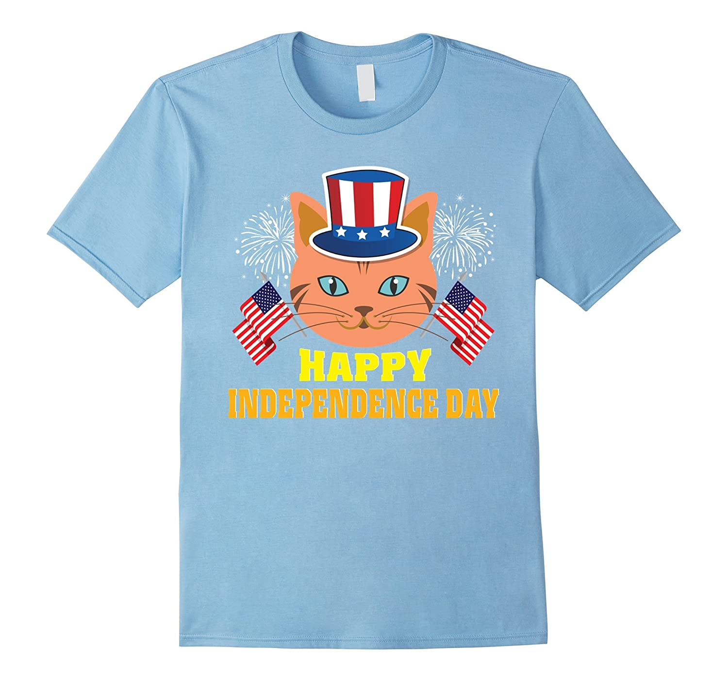 Cat Happy Independence Day With Flag Hat T-Shirt Gift-Art