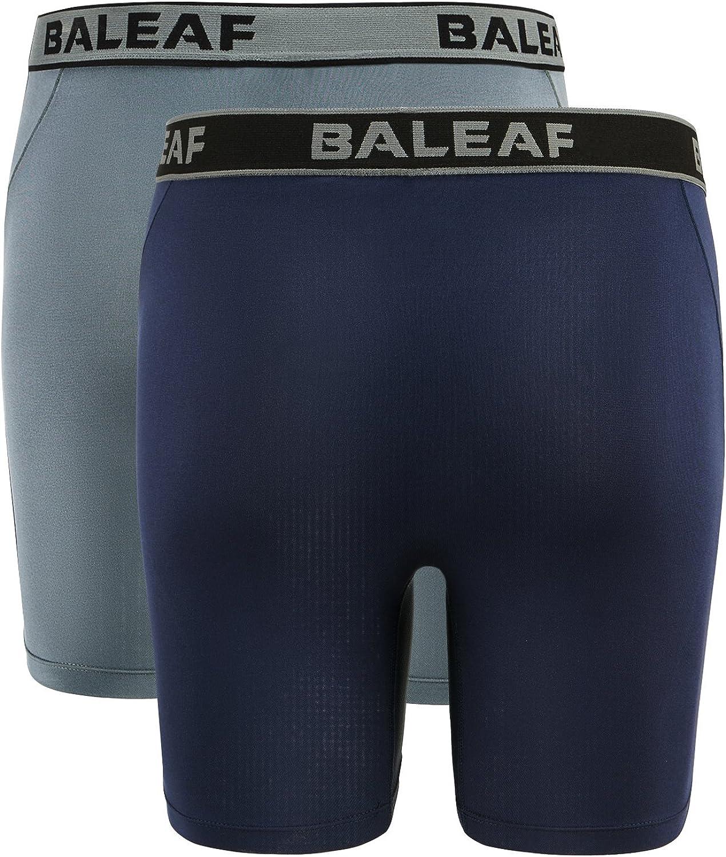 2-Pack Baleaf Mens 9 Sport Boxer Briefs Performance Underwear Navy Size XL