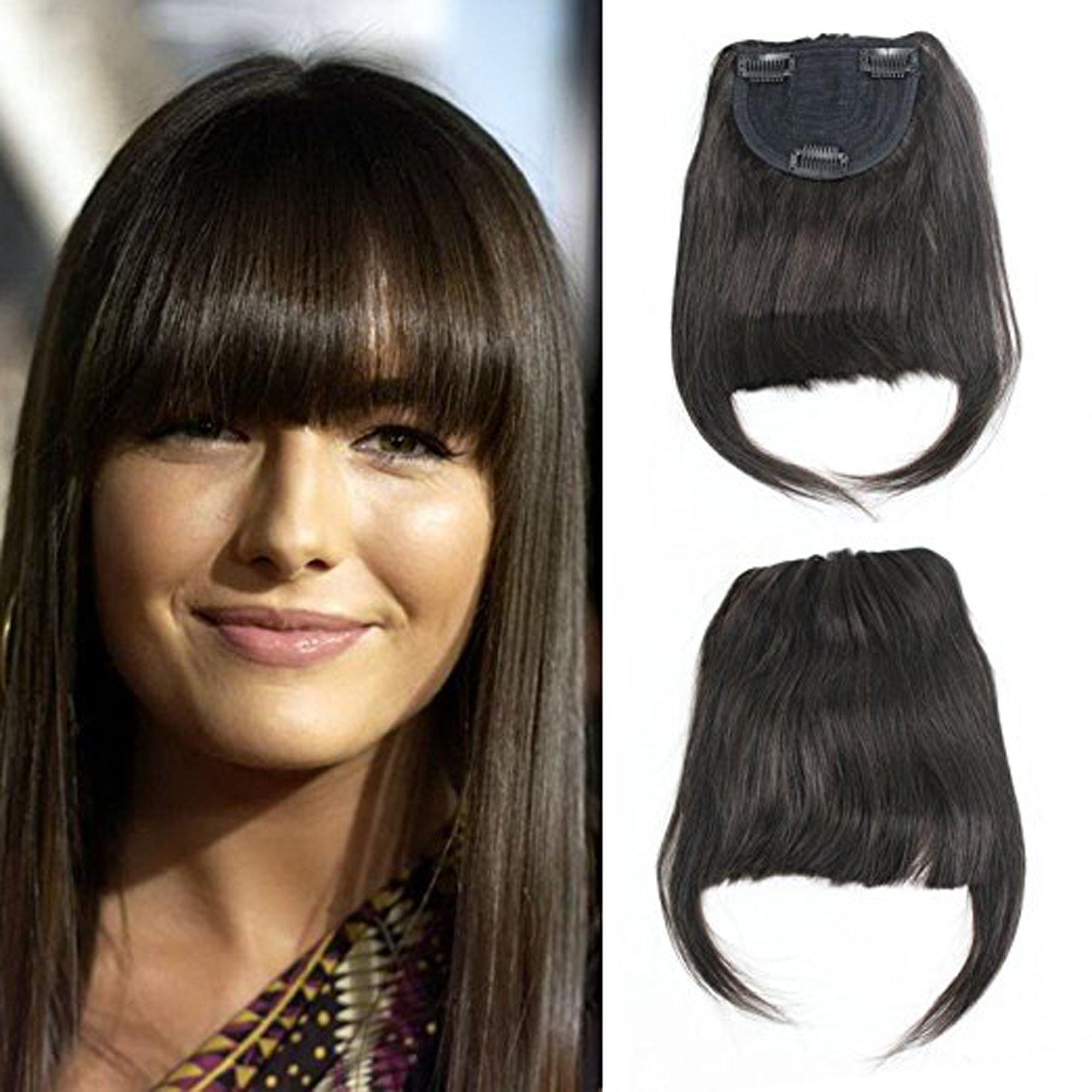 Luxwig Brazilian Human Hair Clip-in Hair Bang Fringe Short Straight Hair Extension for Black Women 6-8inch