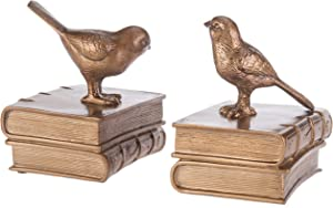 MyGift Vintage Decorative Birds & Books Brass-Colored Resin Bookends, 1 Pair