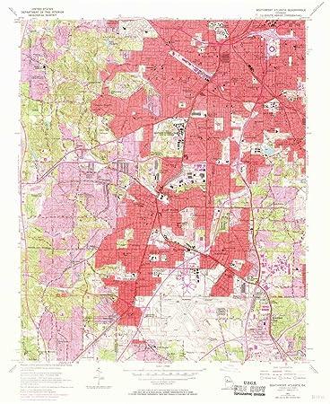 Map Of Southwest Georgia.Amazon Com Yellowmaps Southwest Atlanta Ga Topo Map 1