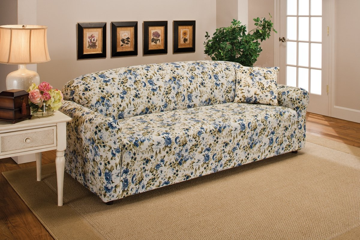 Madison Stretch Jersey Sofa Slipcover, Floral, Blue