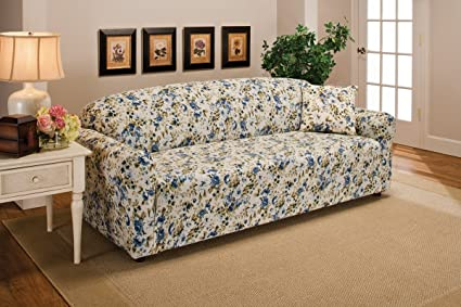 Superieur Madison Stretch Jersey Sofa Slipcover, Floral, Blue