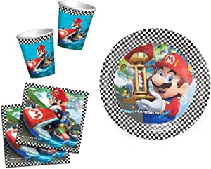 Super Mario Mariokart Pack de Fiesta 16 Platos, 16 Tazas y 32 Servilletas: Amazon.es: Hogar