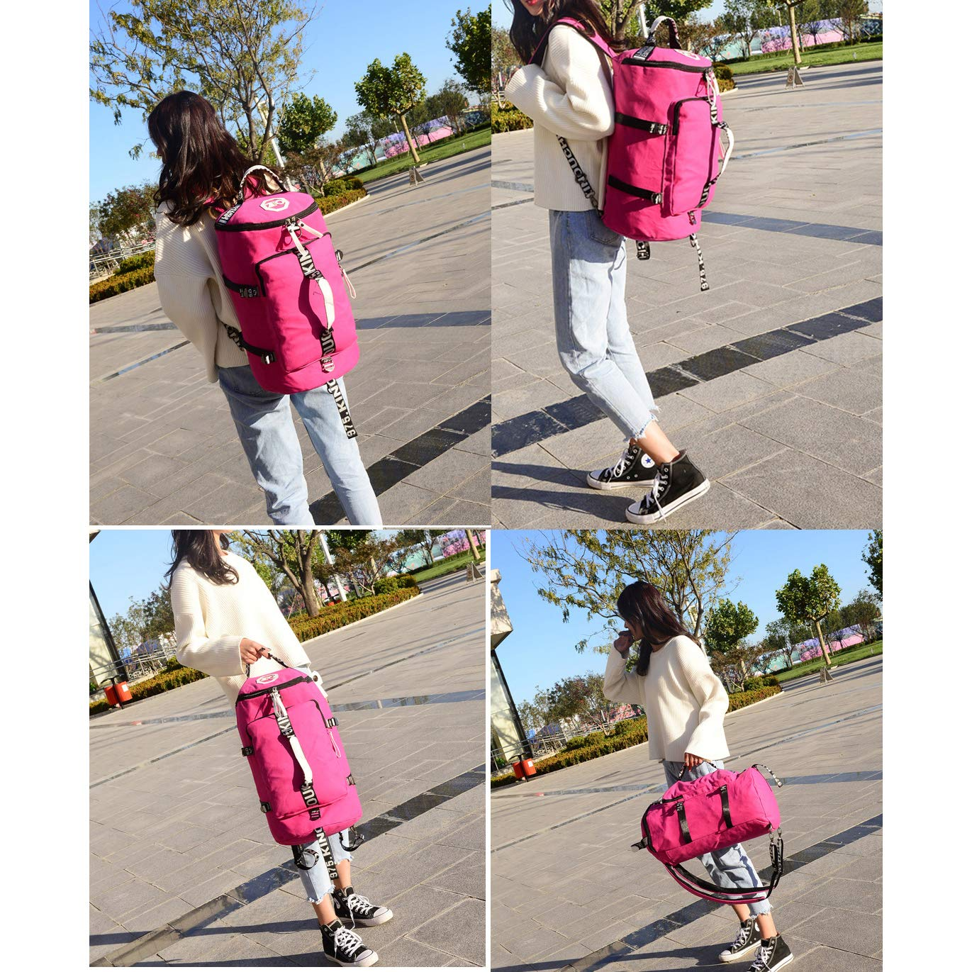 Canvas Travel Duffel Bag Backpack Messenger Shoulder Bags Convertible Traveling Hiking Rucksack ColorK