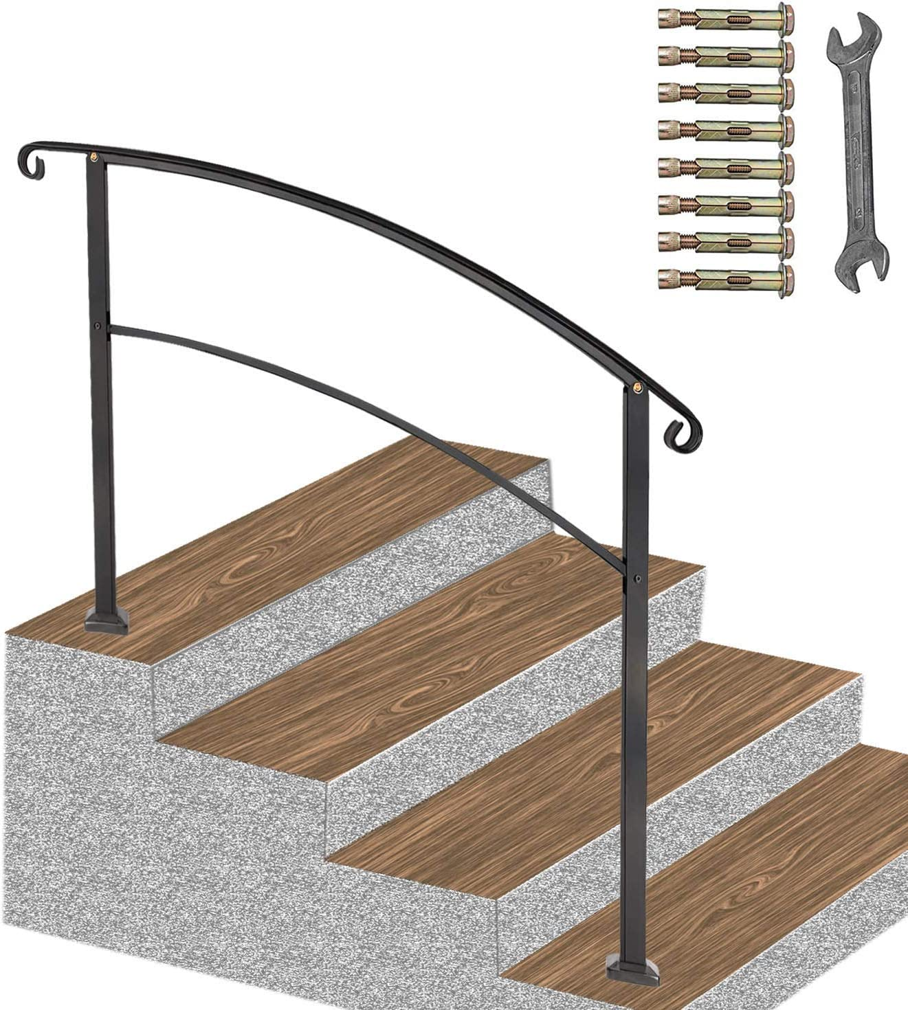 ATHOR Black Handrail,4 Step Handrail Fits 1 to 4 Steps Mattle Wrought Iron Handrail Stair Rail with Installation Kit Hand Rails for Outdoor Steps