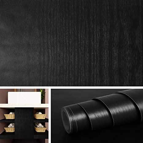 Livelynine 15.8x197 Inch Black Wallpaper Stick and Peel Black Wood Contact  Paper for Kitchen Cabinets Bedroom Furniture Night Stand Adhesive Shelf ...