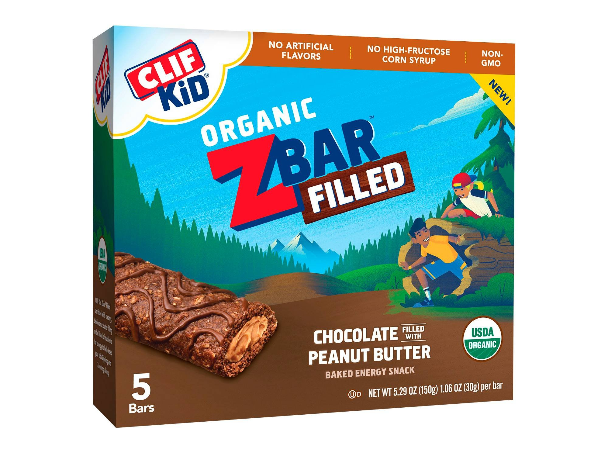 Clif Kid Zbar Filled with Chocolate Peanut Butter Energy Snack 1.06ozx5 bars, total 5.29oz by Clif Kid ZBar