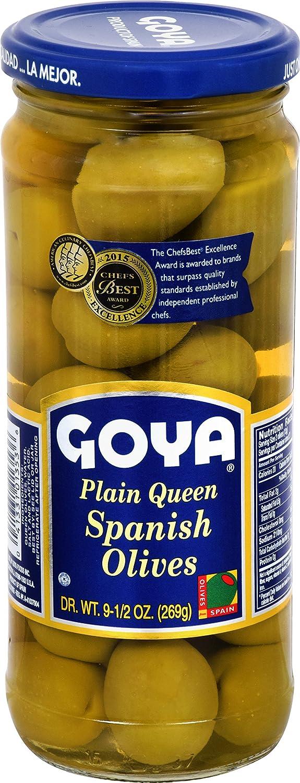 Goya Foods Plain Queen Spanish Olives Jumbo, 9.5 Ounce (Pack of 12)