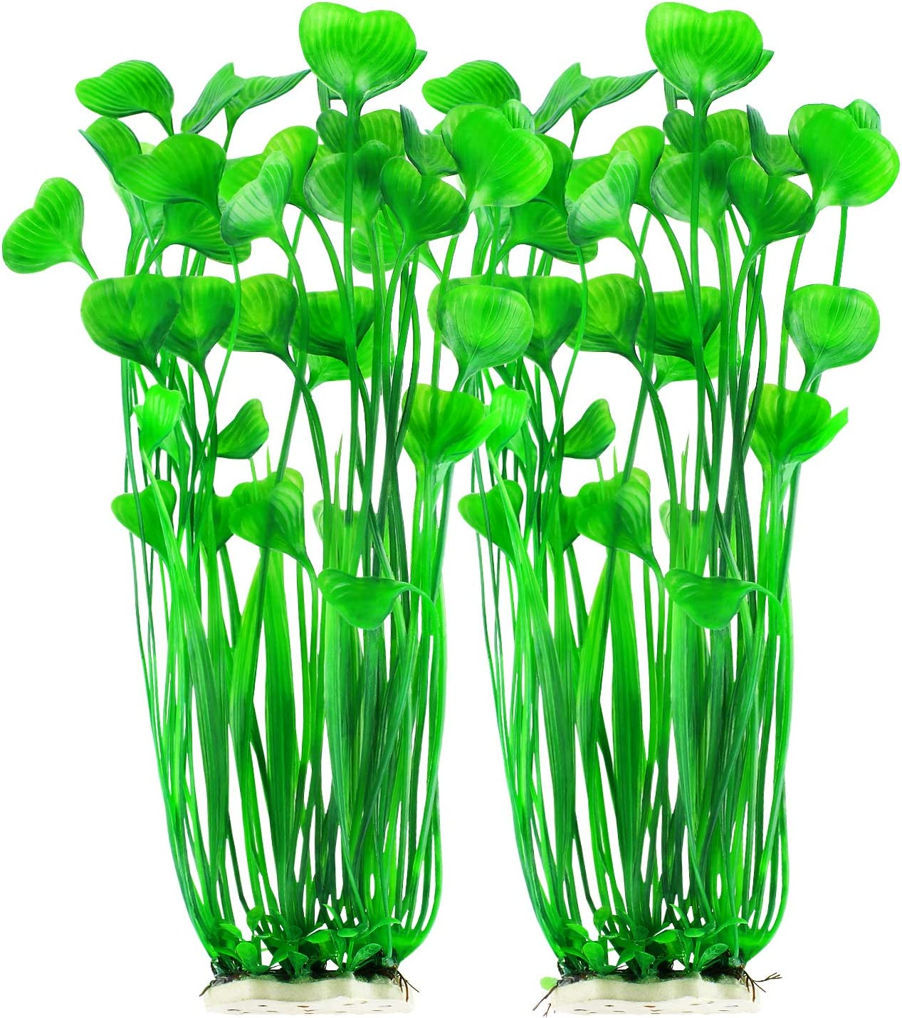 MyLifeUNIT Plastic Fish Tank Plants, Artificial Tall Aquarium Plants for Fish Tank Decor, 15.75 Inches (Pack of 2)