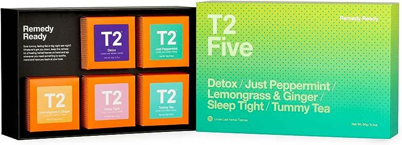 T2 Tea Remedy Ready | Assorted Tea Sampler Gift Box (A Selection of 5 Loose Leaf Herbal Teas), 1 x 95 g