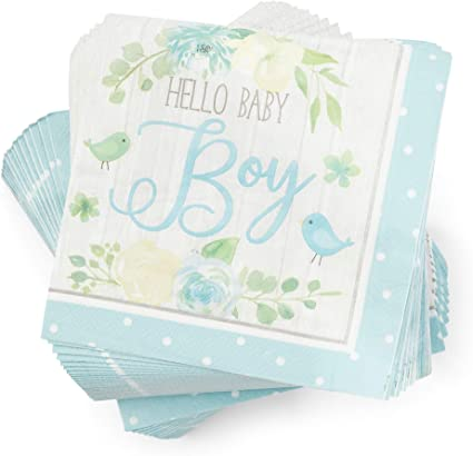 Amazon Com Hello Baby Boy Paper Napkins For Baby Shower Party 6 5 X 6 5 In 100 Pack Health Personal Care