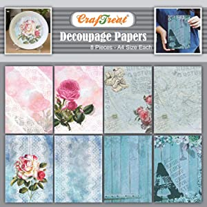 Craftreat Roses Decoupage Paper Vintage Craft Paper - Rose Lace and Alphabet Letter Decoupage Paper Sheets - 8 Pcs - Size: A4 - Flower Beauty Valentine Decoupage Paper Craft - Rose Decoupage