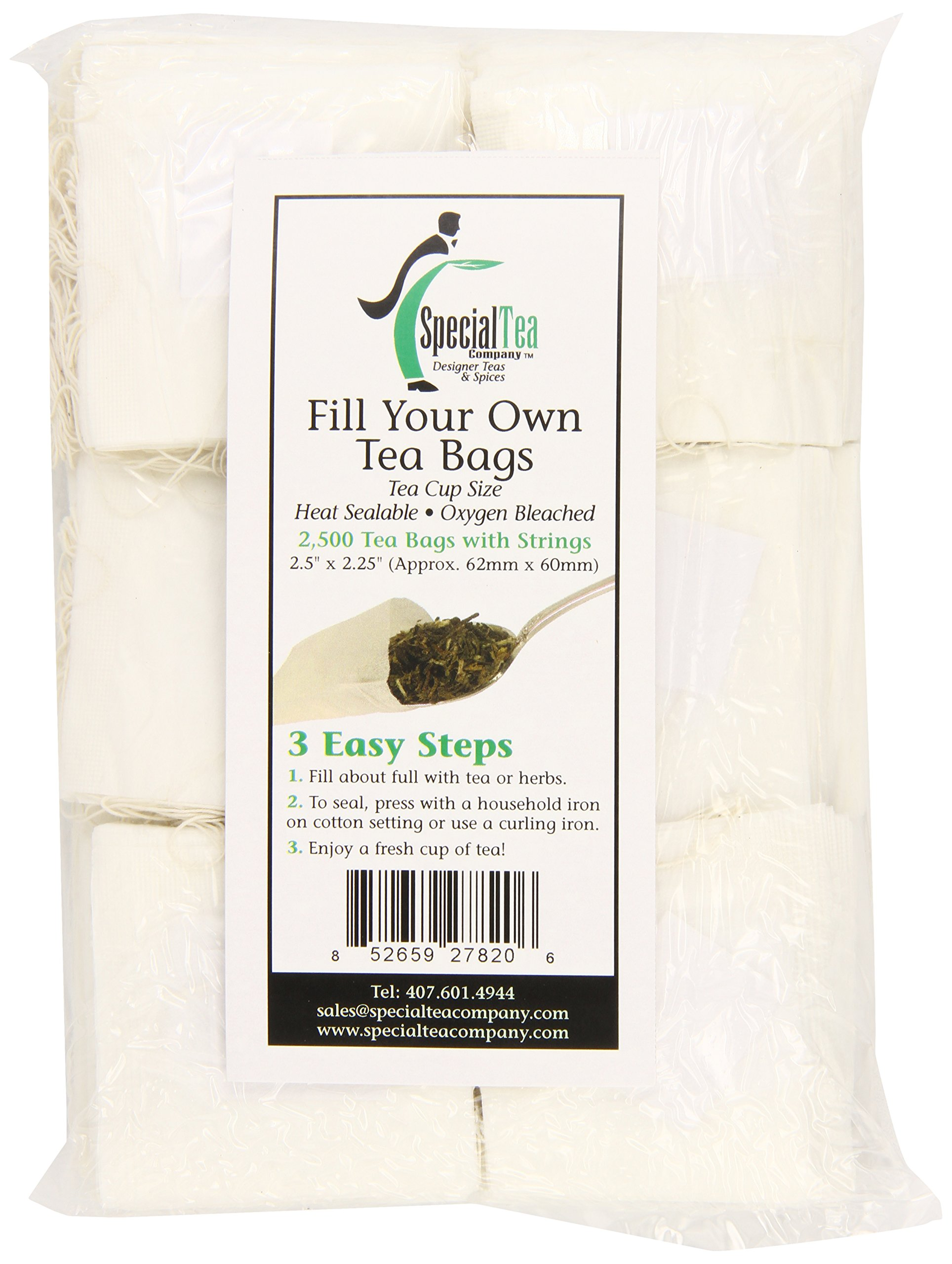 Special Tea Empty Tea Bags with String Bulk Case, 2 x 2.25 Inches, 2500 Count