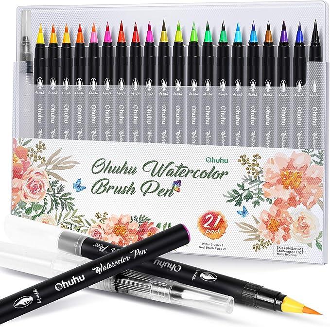Perfecta para Caligrafia 24 plumas de pincel de acuarela,Rotuladores Acuarelables,Set de rotuladores con doble punta de pincel Brush Pens Set Regalo