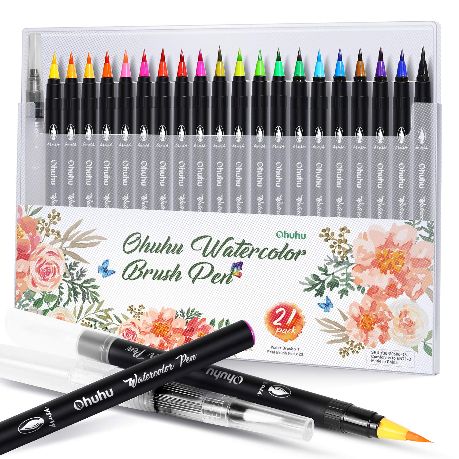 Ohuhu Watercolor Brush Markers Pen, Ohuhu 20 Colors Water Based Drawing Marker Brushes W/ A Water Coloring Brush, Water Soluble for Adult Coloring Books Manga Comic Calligraphy, Back to School Art Supplies by Ohuhu