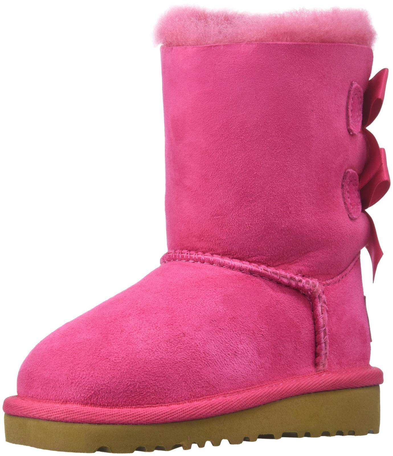 UGG Australia Infants' Bailey Bow Toddler Suede Boots,Cerise,8 Toddler US