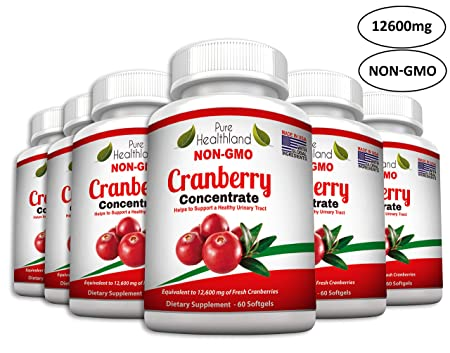 Non GMO Cranberry Concentrate Supplement Pills for Urinary Tract Infection UTI. Equals 12600mg Cranberries. Triple Strength Kidney Bladder Health for Men Women. Easy to Swallow Softgels, 6 Bottles