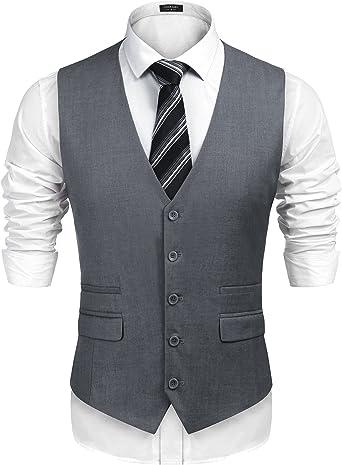 Mens Casual Single-Breasted Paisley Waistcoat Business Suit Vest,Slim Fit Skinny Wedding Waistcoat